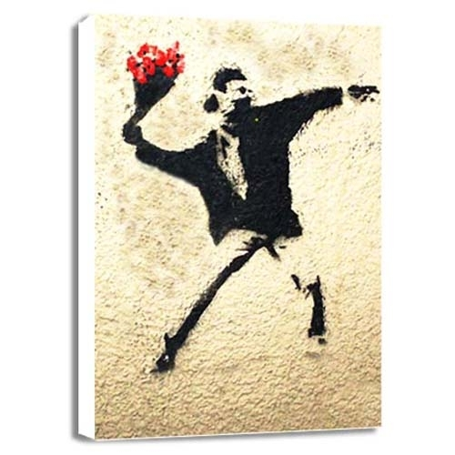 Arts and Crafts - Canvas Prints - Flowers Of Romance Banksy Canvas Print